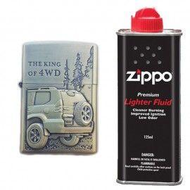 Bricheta tip zippo, 3D relief, metalica, king of 4wd si lichid zippo 125 ml m4