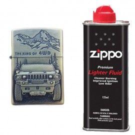 Bricheta tip zippo, 3D relief, metalica, king of 4wd si lichid zippo 125 ml m3
