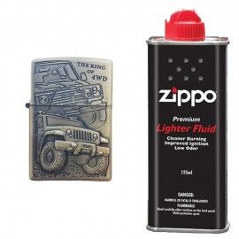 Bricheta tip zippo, 3D relief, metalica, king of 4wd si lichid zippo 125 ml m2