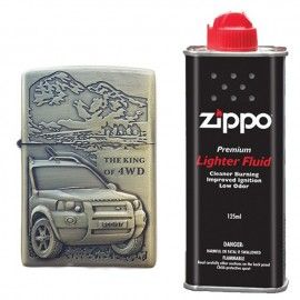 Bricheta tip zippo, 3D relief, metalica, king of 4wd si lichid zippo 125 ml m1