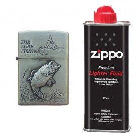 Bricheta tip zippo, 3D relief, metalica, peste si lichid zippo 125 ml p4