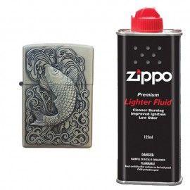 Bricheta tip zippo, 3D relief, metalica, peste si lichid zippo 125 ml p2