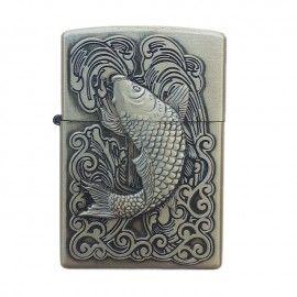 Bricheta tip zippo, 3D relief, metalica, pescuit p2