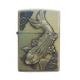 Bricheta tip zippo, 3D relief, metalica, pescuit p1