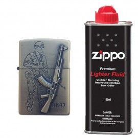 Bricheta tip zippo, 3D relief, metalica, soldat pusca AK47 si lichid zippo 125 ml