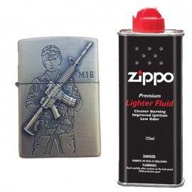 Bricheta tip zippo, 3D relief, metalica, soldat pusca M16 si lichid zippo 125 ml