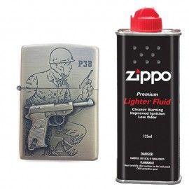 Bricheta tip zippo, 3D relief, metalica, soldat pistol P38 si lichid zippo 125 ml