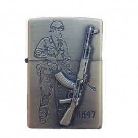 Bricheta tip zippo, 3D relief, metalica, soldat pusca AK47