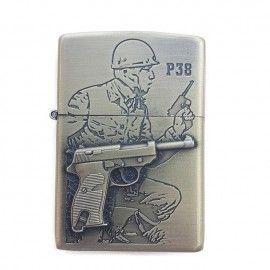 Bricheta tip zippo, 3D relief, metalica, soldat pistol P38