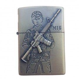 Bricheta tip zippo, 3D relief, metalica, soldat pusca M16