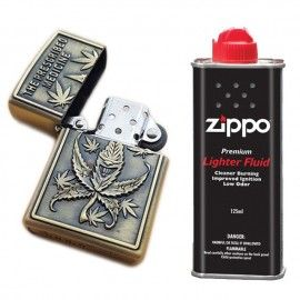 Bricheta tip zippo, 3D relief, metalica, the prescribed weed, lichid zippo 125 ml