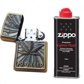 Bricheta tip zippo, 3D relief, metalica, the need for weed, lichid zippo 125 ml