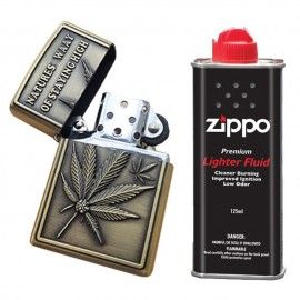 Bricheta tip zippo, 3D relief, metalica, stay high, lichid zippo 125 ml