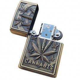 Bricheta tip zippo, 3D relief, metalica, cannabis