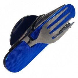 Briceag otel inoxidabil 7 functii cu lingura, furculita, albastru