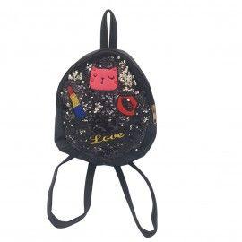 Ghiozdan copii geanta rucsac pisica love, paiete, fermoar, Dalimag, 22x25x10 cm