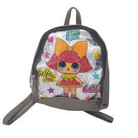 Ghiozdan copii geanta rucsac fetita, gri, fermoar, Dalimag, 22x25x10 cm