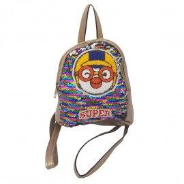 Ghiozdan copii geanta rucsac super, paiete, fermoar, Dalimag, 22x25x10 cm