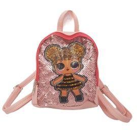 Ghiozdan copii geanta rucsac fetita, roz, paiete, fermoar, Dalimag, 22x25x10 cm
