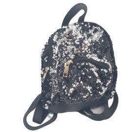 Ghiozdan copii geanta rucsac , negru, paiete, fermoar, Dalimag, 22x25x10 cm