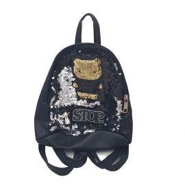 Ghiozdan copii geanta rucsac stop , negru, paiete, fermoar, Dalimag, 22x25x10 cm