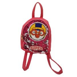Ghiozdan copii tip rucsac super, paiete multicolor, rosu, fermoar, Dalimag, 22x25x10 cm
