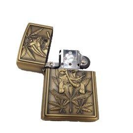 Bricheta tip zippo, 3D relief, metalica, weed 3