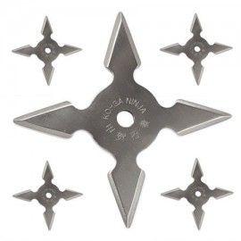 Set 5 stelute ninja, stea ninja samurai pentru aruncat la tinta 4 colturi in husa