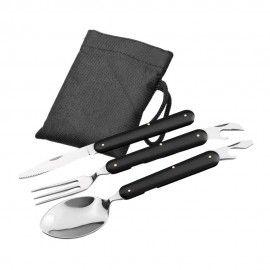 Set 3 tacamuri pliabile, lingura, furculita, cutit, otel inoxidabil, 17 cm, negru, husa