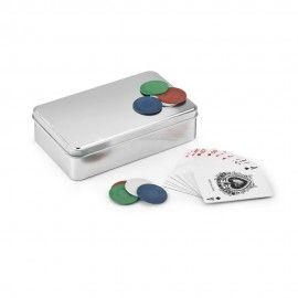 Joc de poker in cutie de aluminiu cu 2 pachete de carti si 4 x 25 jetoane (albastru, verde, alb...