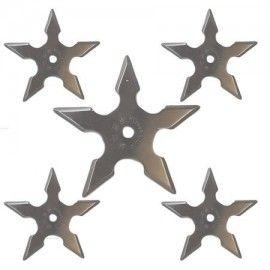 Set 5 bucati steluta ninja, stea samurai pentru aruncat la tinta 5 colturi in husa
