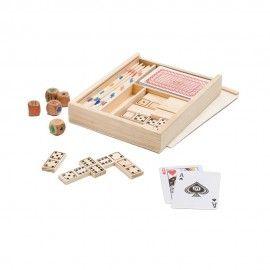 Set 4 in 1 joc de familie, domino, mikado, carti joc, zaruri, Dalimag, 190 x 138 x 31 mm