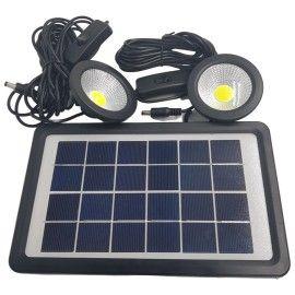 Kit solar, panou solar cu bec, 2 mini proiectoare cu led, incarcator USB, pentru camping