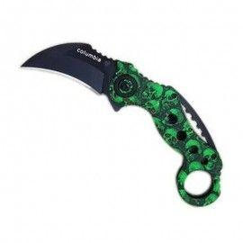 Cutit Karambit Columbia celtic skull verde claw knife