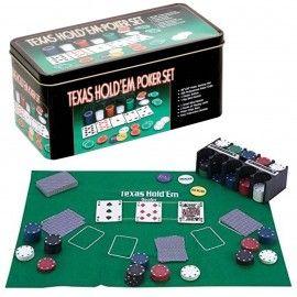 Poker cu 200 chips poker in cutie metalica, buton dealer, jetoane 4 culori de 1, 5 10 si 25,...