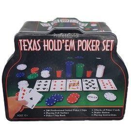 Set Poker Texas Holden negru 200 jetoane, 2 carti, covoras, 3 butoane, cutie