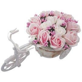 "Aranjament floral trandafiri ""Bicicleta cu flori zambarete"", flori de sapun, Dalimag, 30x17x15 cm"