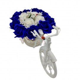 """Aranjament floral trandafiri """"Bicicleta cu flori zambarete"""", flori de sapun, albastru cu alb,..."""