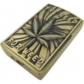 Bricheta tip zippo, 3D relief, metalica, the need for weed, gaz, marihuana, verde, cutie