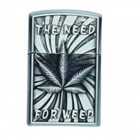 Bricheta tip zippo, 3D relief, metalica, the need for weed, gaz, marihuana, gri, cutie