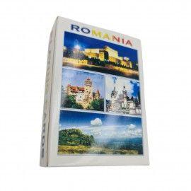 Carti de joc educative cartonate, Romania Turistica, cu 52 peisaje din Romania, castelul Bran, Peles