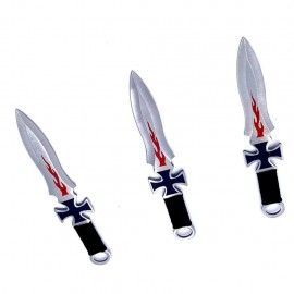 Set 3 cutite ninja de aruncat in copaci,18 cm, negru, cruce