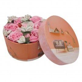 Aranjament floral 7 trandafiri cutie rotunda, flori de sapun, rosu, 11x9x6 cm