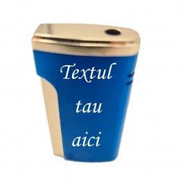 Bricheta metalica personalizata cu textul tau, gaz, antivant, cutie, albastra