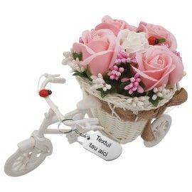 """Aranjament floral gravat personalizat cu textul tau trandafiri """"Bicicleta cu flori zambarete"""",..."""