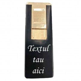 Bricheta metalica gravata personalizata cu textul tau, cu gaz, antivant, reincarcabila, neagra,...