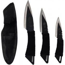 Set 3 cutite ninja de aruncat in copaci, 25, 21, 16, cm negru, husa