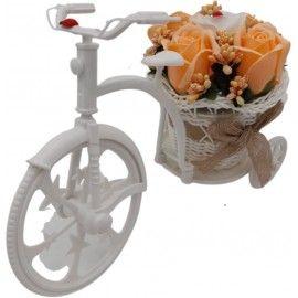"""Aranjament floral, trandafiri, portocalii """"Bicicleta cu flori zambarete"""", flori de sapun,..."""