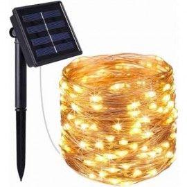 Ghirlanda luminoasa solara 10m, 120 becuri, pentru gradina, alb, Dalimag