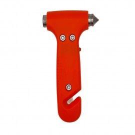 Ciocan de urgenta 3 in 1 din plastic rosu  ABS, cu taietor pentru centura de siguranta si lanterna,